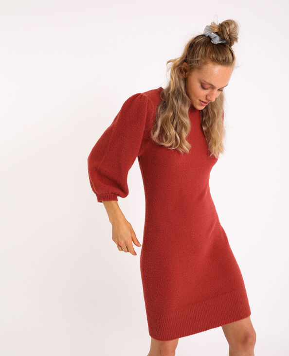 Robe pull manches bouffantes corail