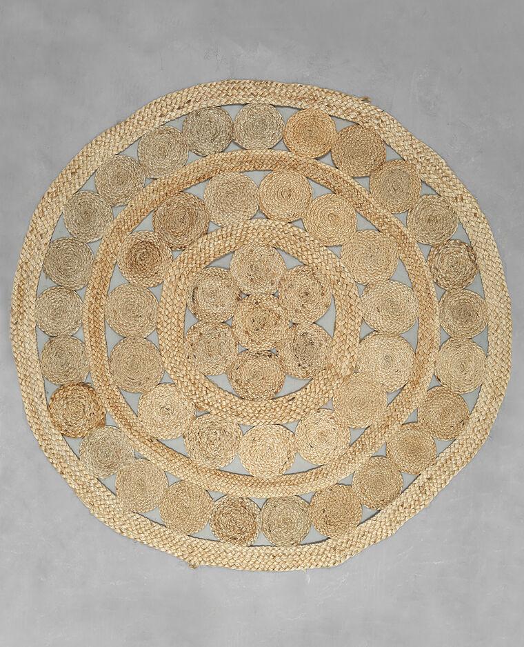 tapis rond jute beige taupe 902236742a07 pimkie. Black Bedroom Furniture Sets. Home Design Ideas