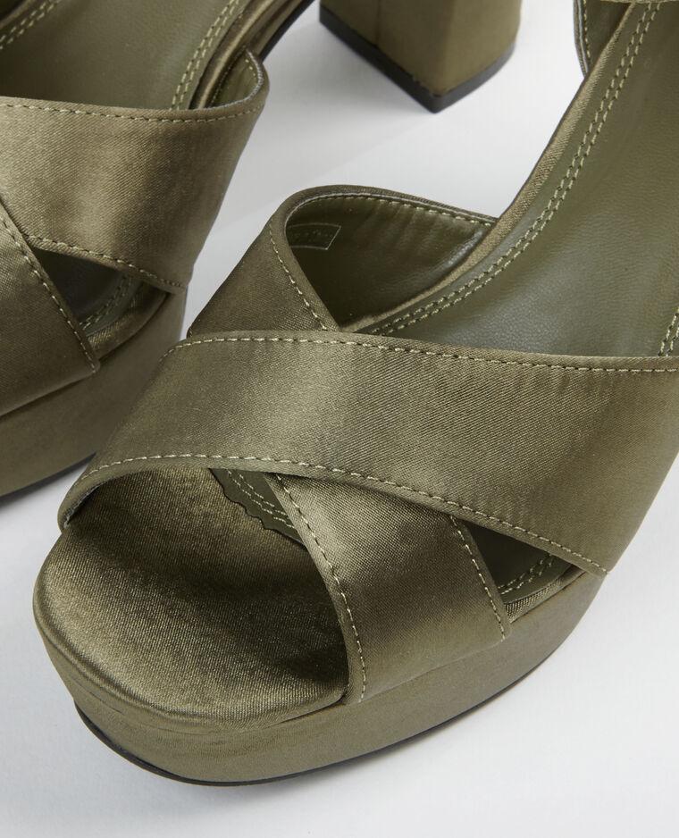 Sandales à plateforme satinées vert