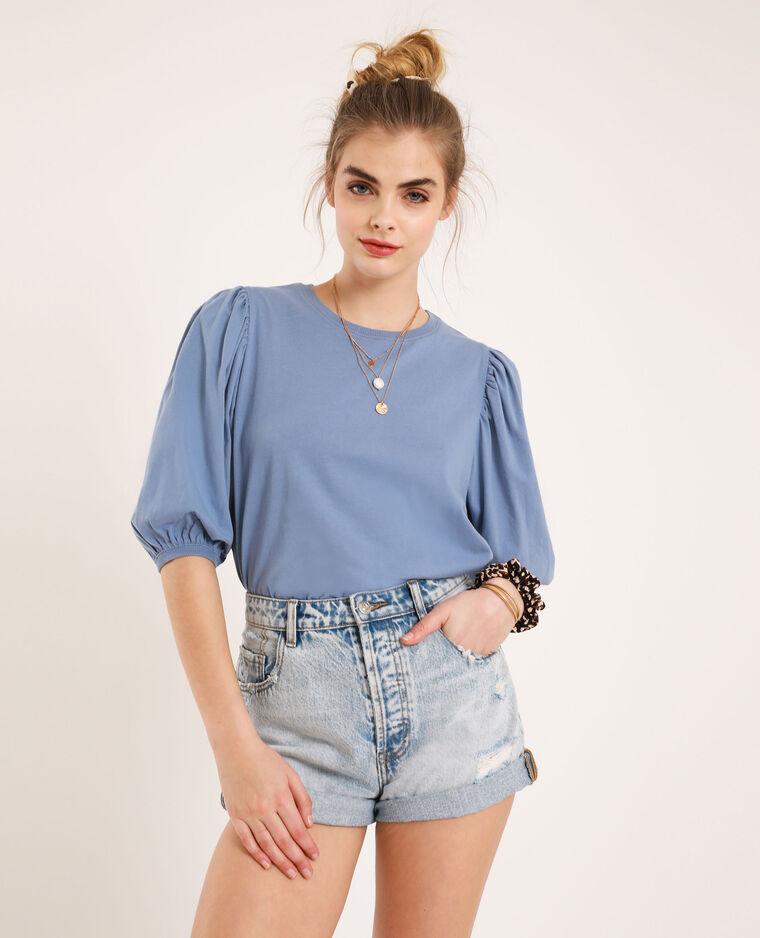 T-shirt manches ballon bleu ciel - Pimkie