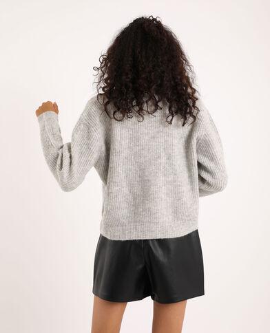 Gilet torsadé gris clair chiné