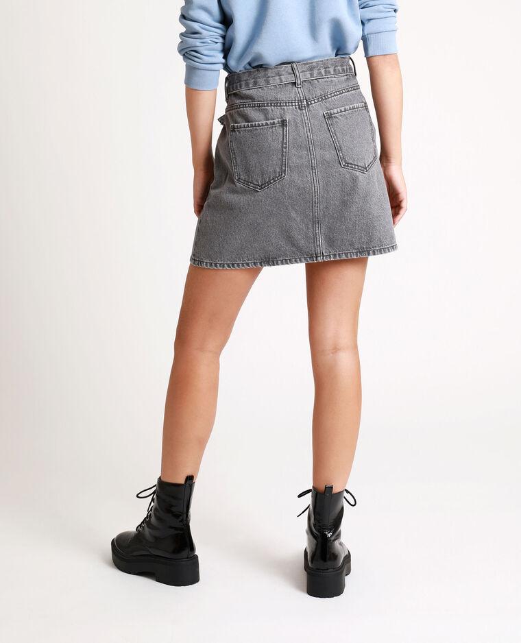 Jupe en jean à ceinture gris usé - Pimkie