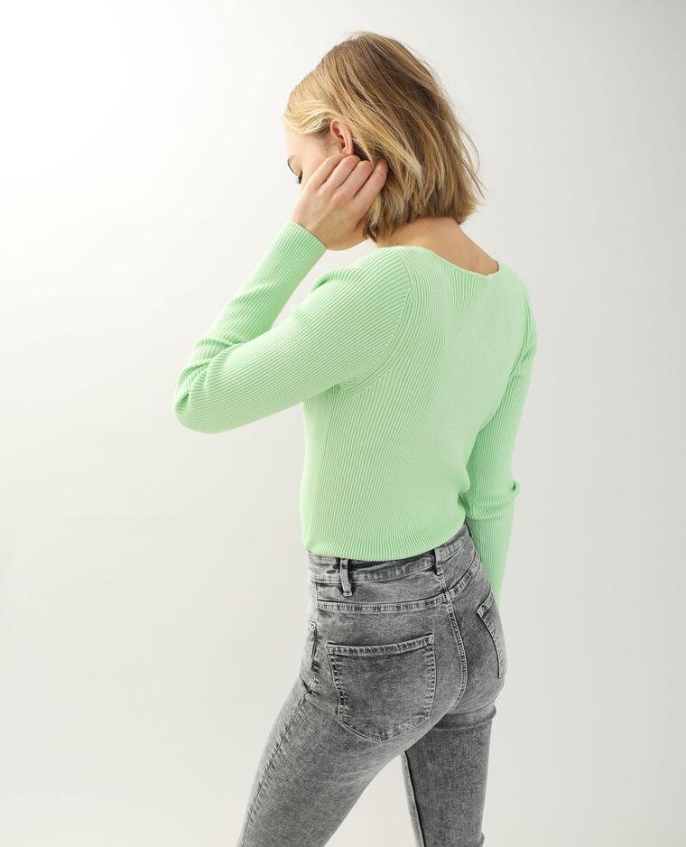 Top maille côtelée vert - Pimkie
