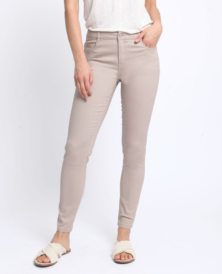Pantalon push up mid waist beige