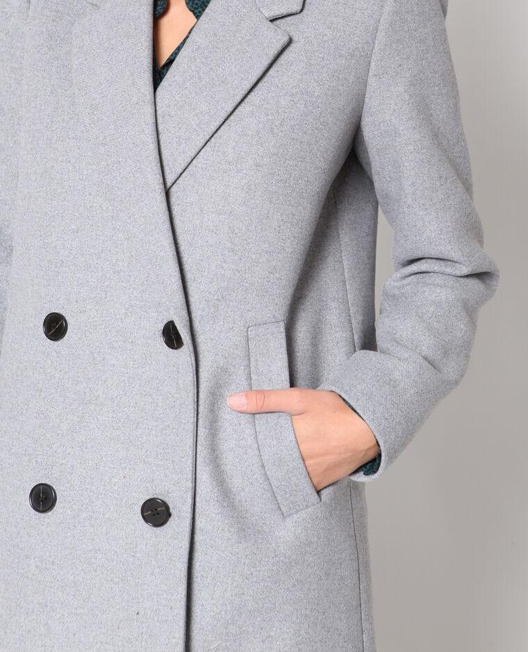 Manteau en laine gris chiné