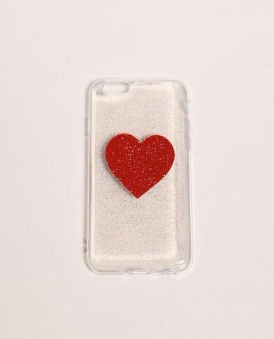 Coque compatible iPhone transparente rouge