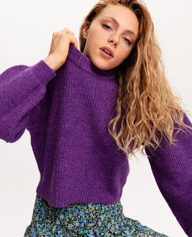 Pull court en grosse maille violet