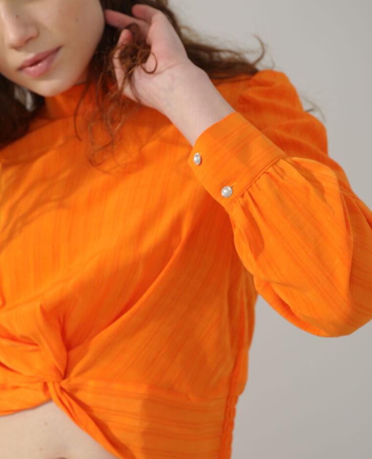 Top effet noué orange