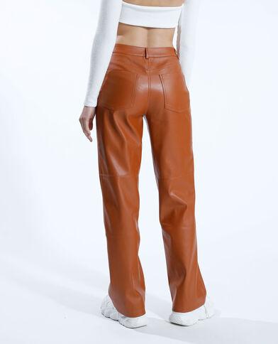 Pantalon droit en simili cuir camel - Pimkie