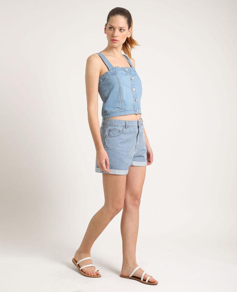 Short en jean rayé bleu