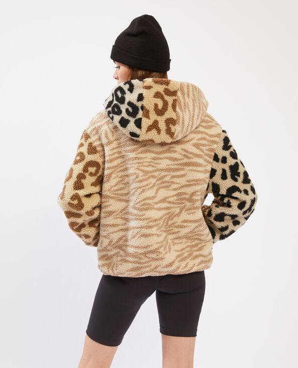 Blouson à capuche léopard et zébré beige - Pimkie