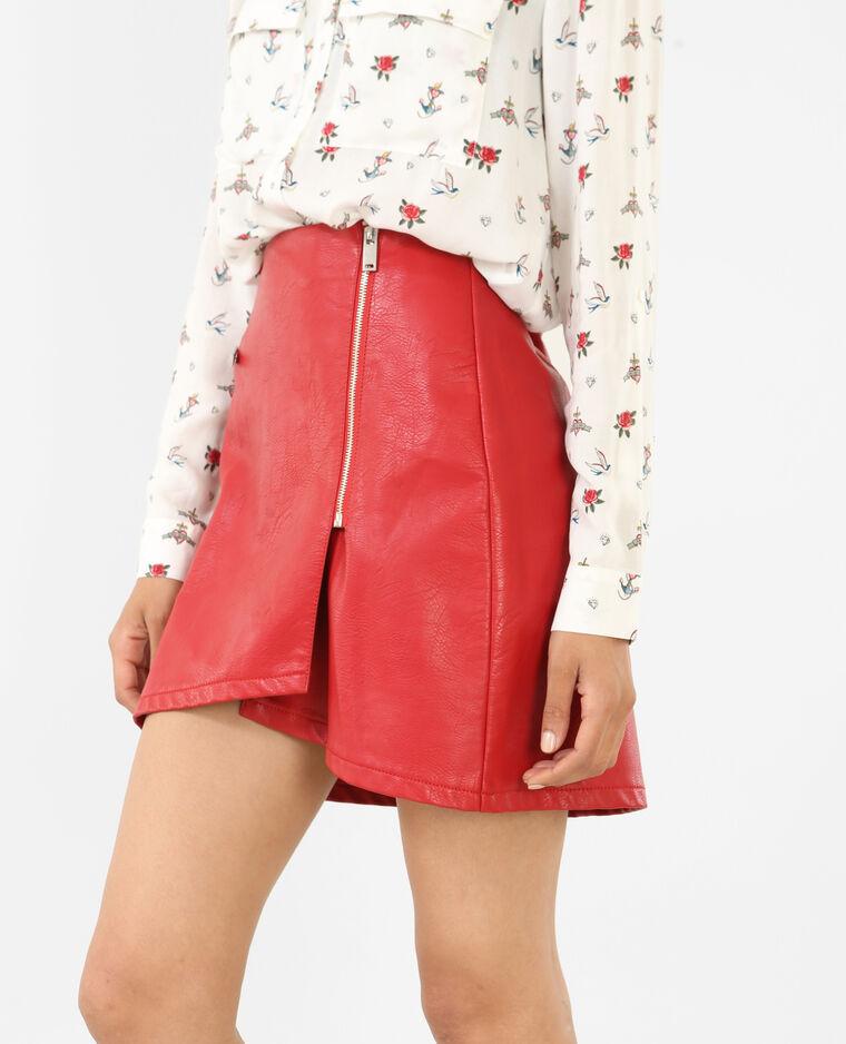 Mini jupe en simili cuir rouge