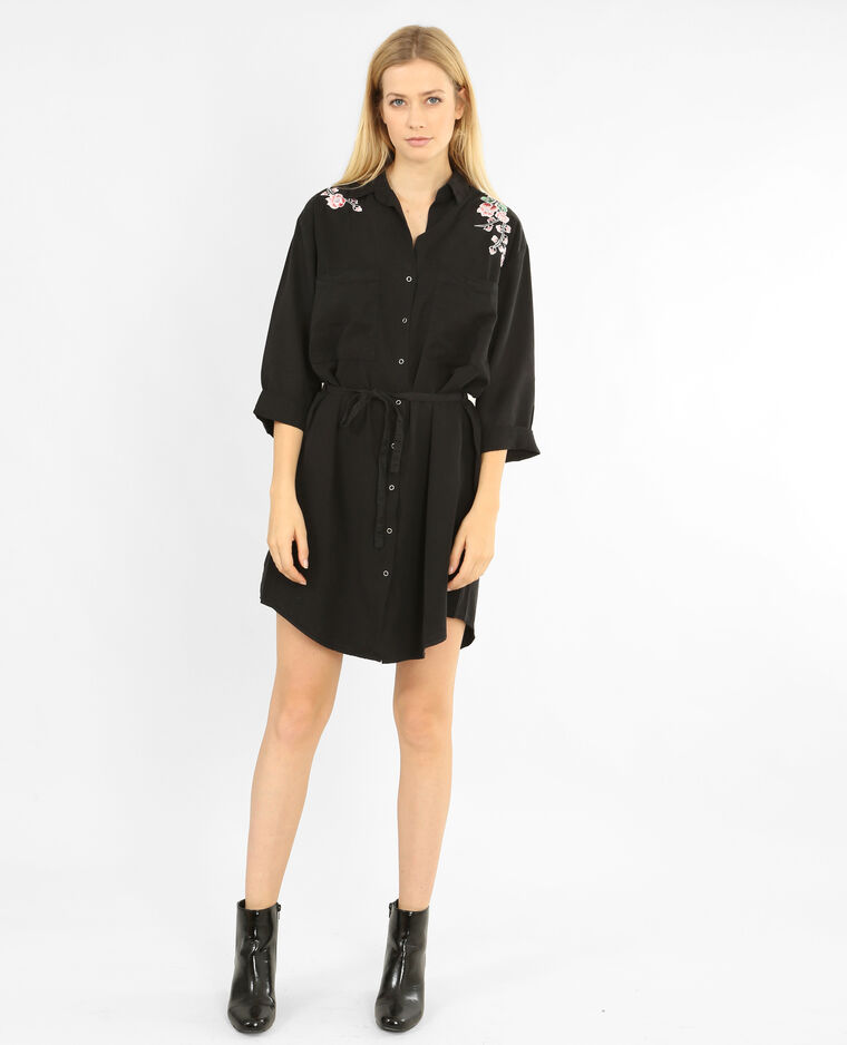 91cb3e5a8a0 Robe chemise brodée noir - 780782899A08