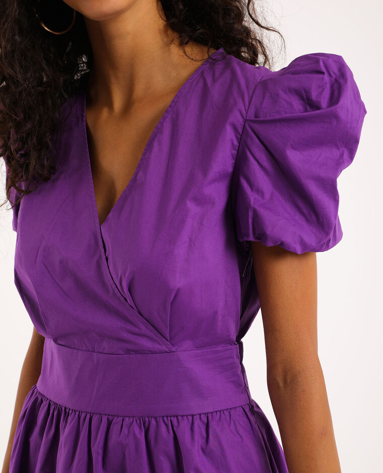 Robe manches bouffantes violet
