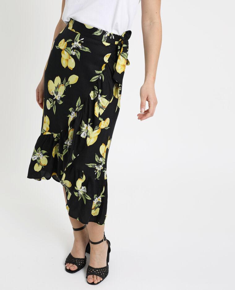 Jupe fleurie noir