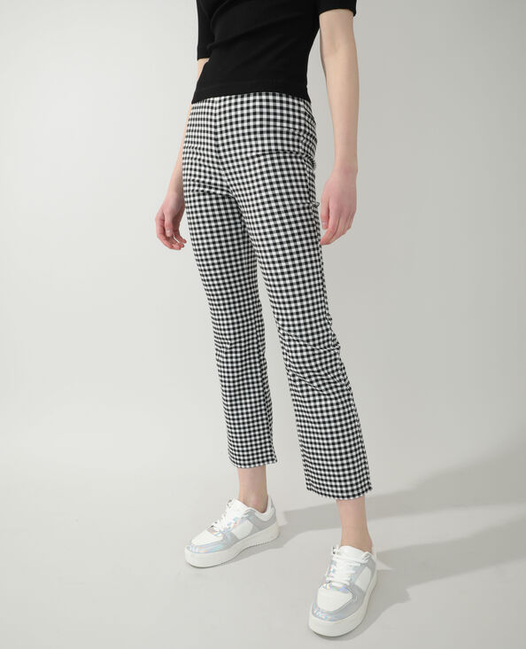 Pantalon flare Vichy noir
