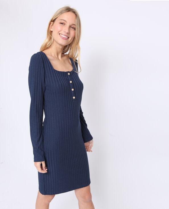 Robe en maille côtelée bleu marine