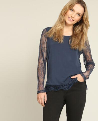T-shirt en dentelle bleu marine