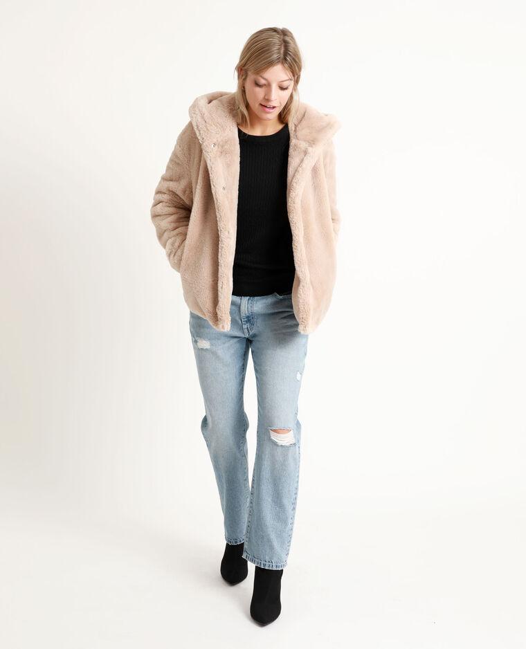 Manteau court en fausse fourrure beige