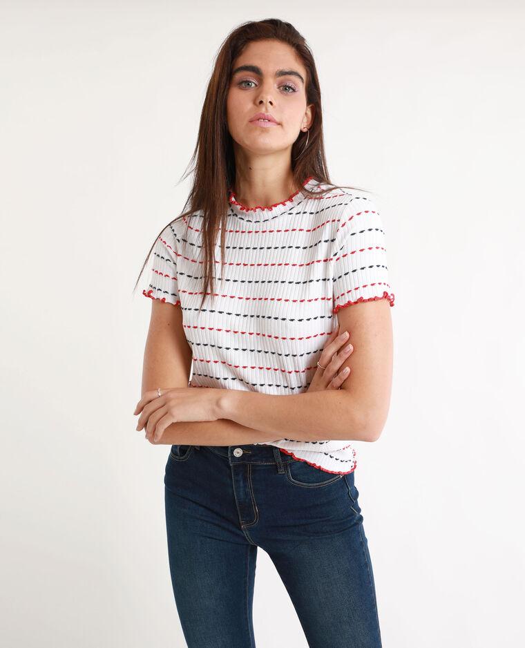 Tee-shirt maille côtelée blanc