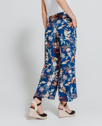 Pantalon large fleuri bleu marine