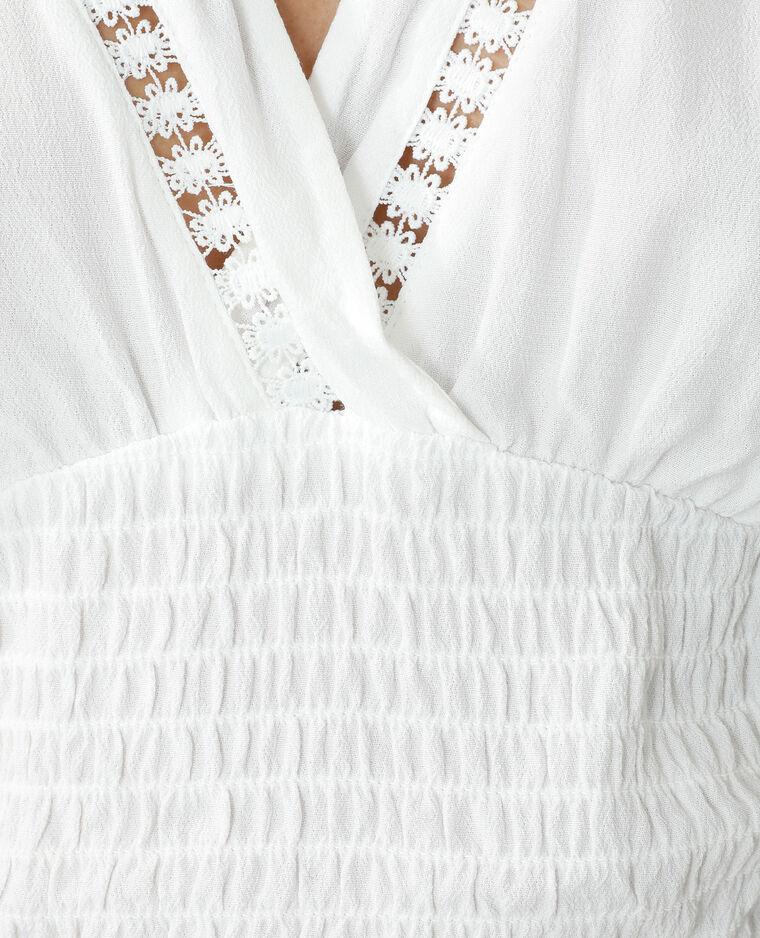 Blouse cropped smockée blanc cassé - Pimkie