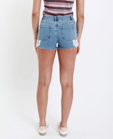 Short mid waist brodé bleu denim