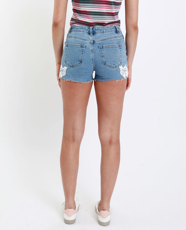 Short mid waist brodé bleu denim