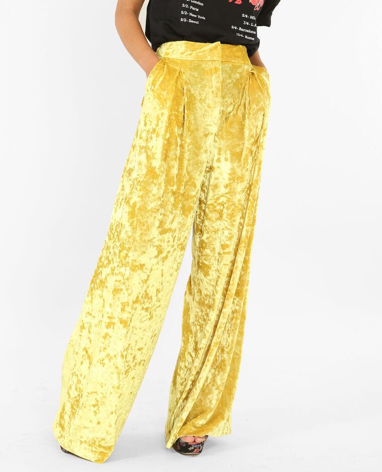Pantalon flare effet velours jaune