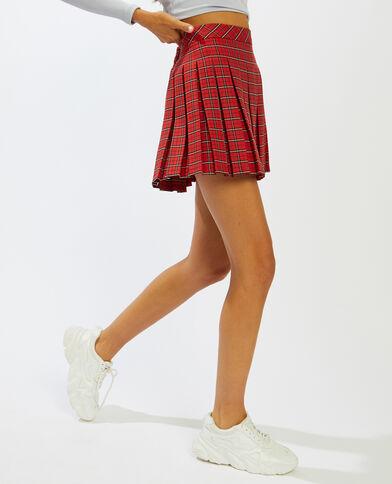 Jupe courte plissée rouge - Pimkie