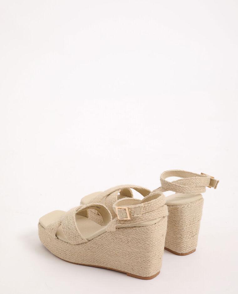 Sandales compensées en corde beige - Pimkie