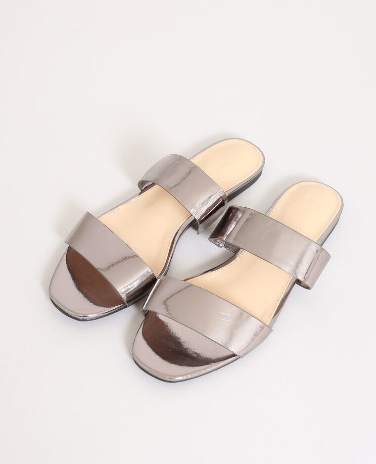 Sandales plates gris argenté