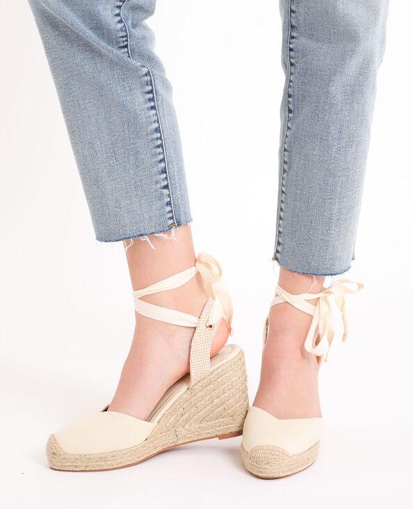 Sandales compensées en paille blanc