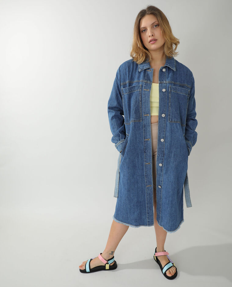 Manteau long en jean bleu - Pimkie
