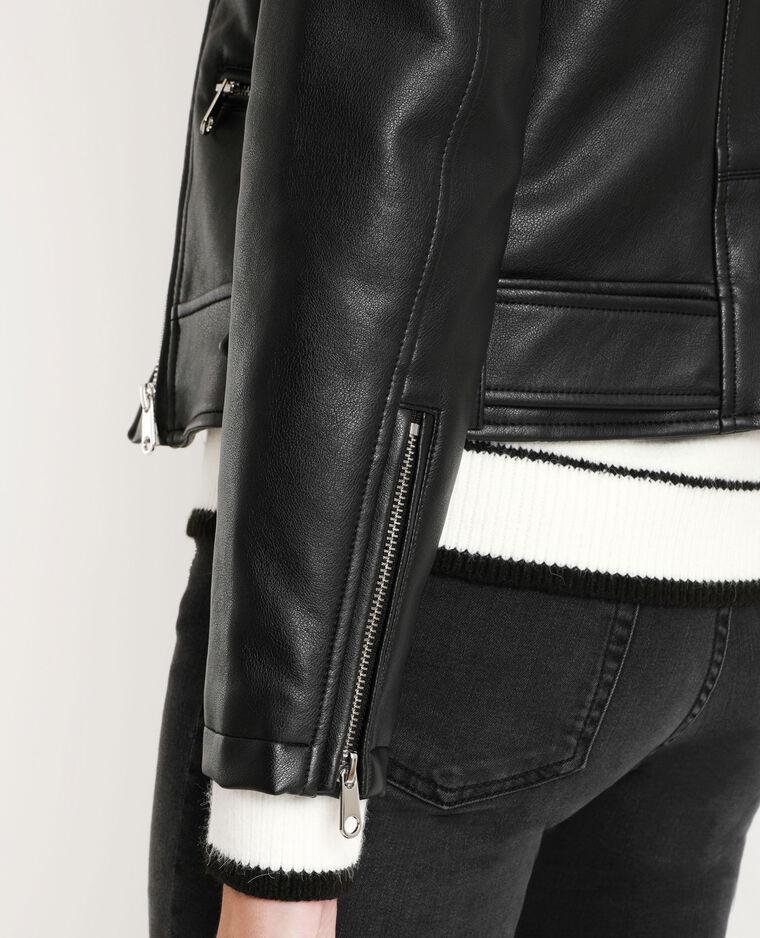 Veste en faux cuir noir - Pimkie