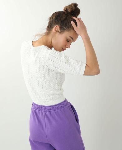 Petit pull manches courtes blanc cassé - Pimkie