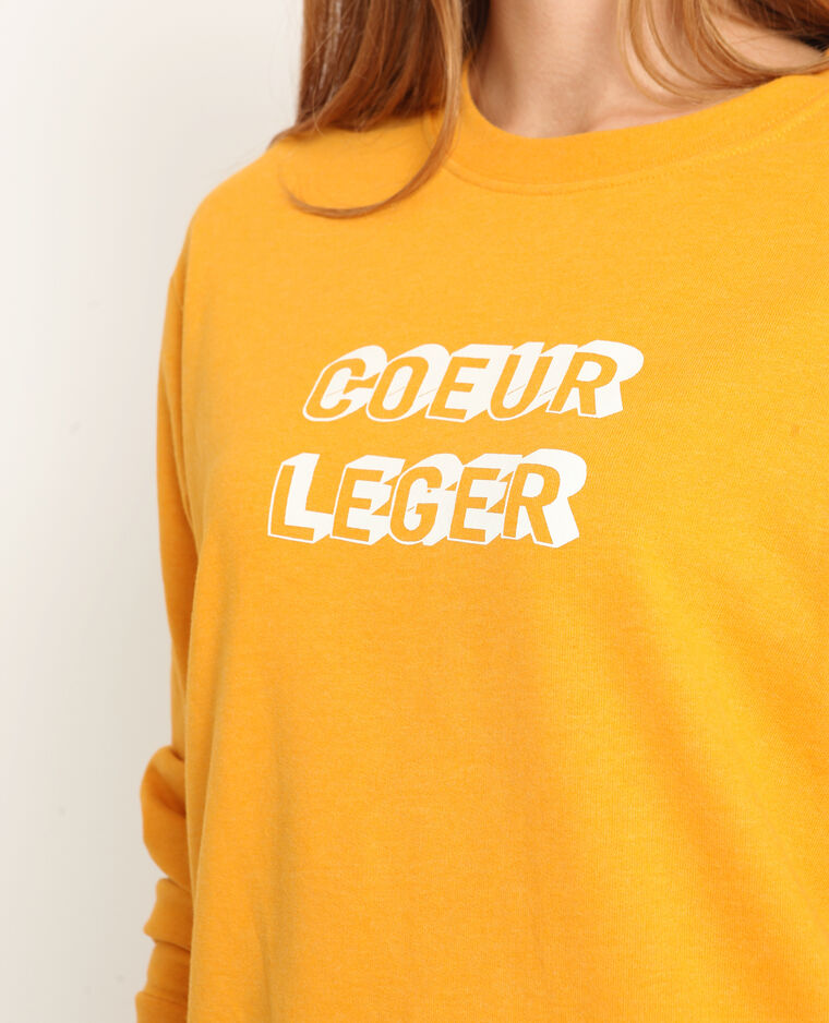 Sweat à message jaune - Pimkie