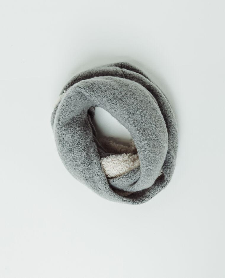 Snood en fausse fourrure gris perle