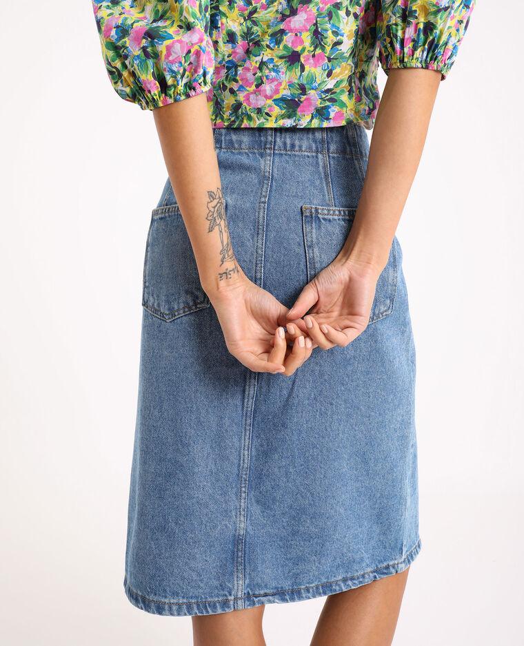 Jupe midi en jean bleu