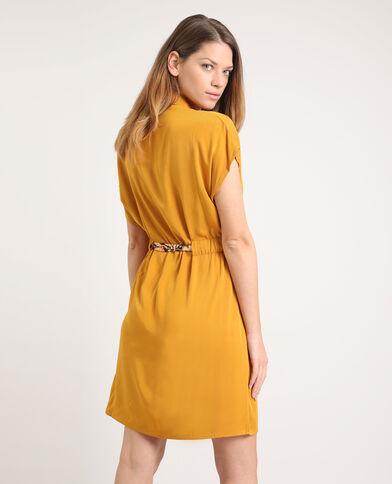 Robe chemise nouée jaune brun