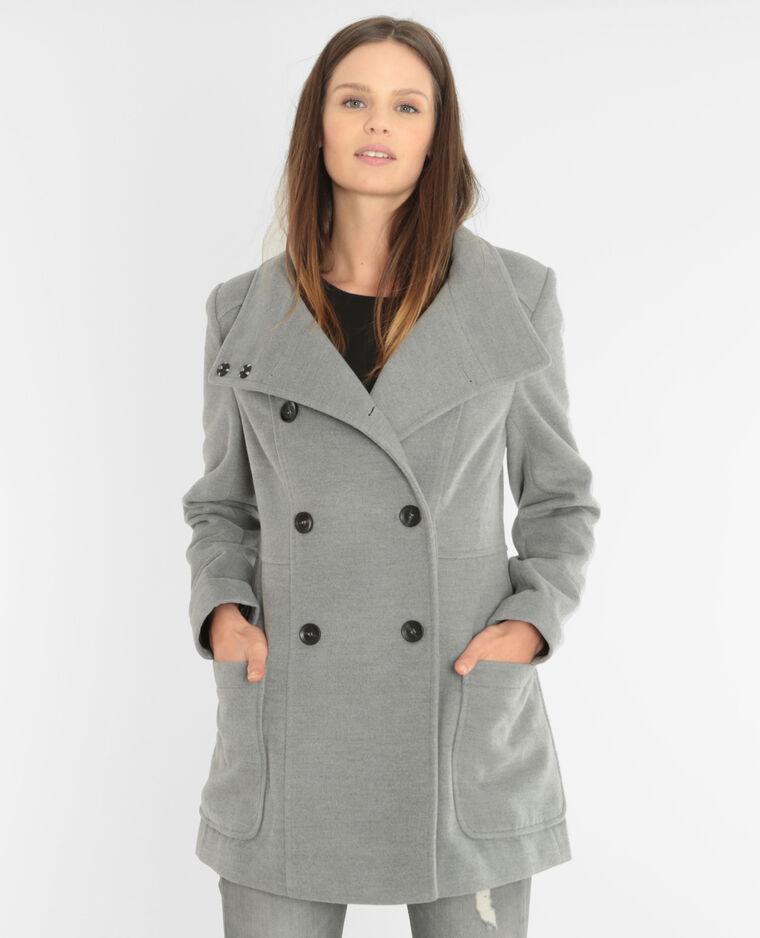 Manteau boutonné gris chiné