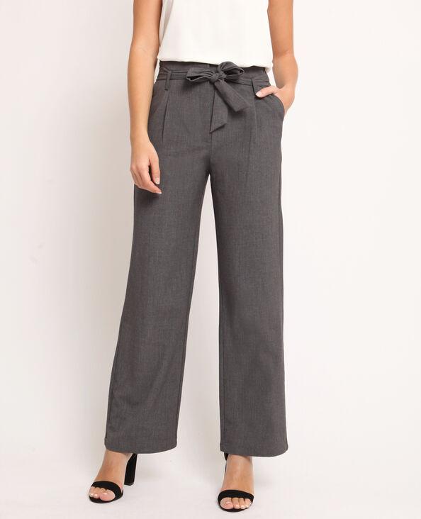 07aa10d41585b Pantalon large gris chiné