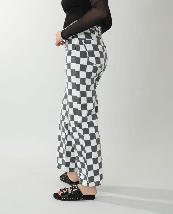 Jean straight high waist damier noir - Pimkie