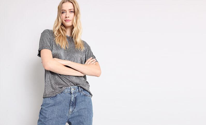 T-shirt texturé gris