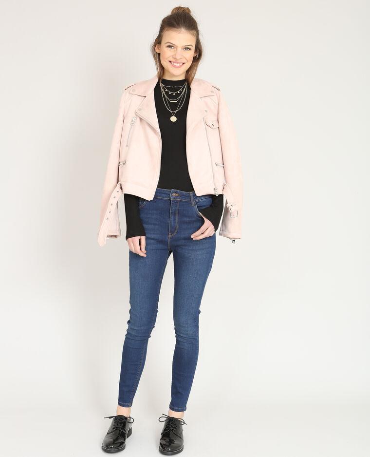 Veste style perfecto suédine rose pâle