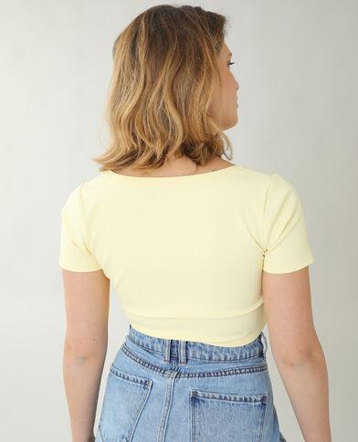 T-shirt cropped côtelé jaune - Pimkie