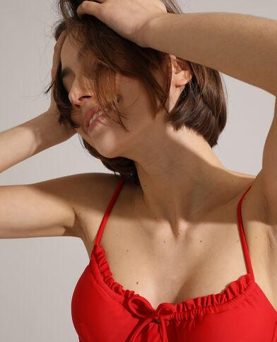 Haut de maillot corbeille à volants rouge
