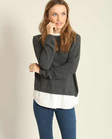 Pull chemise gris chiné