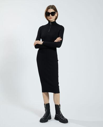 Robe pull côtelée noir - Pimkie