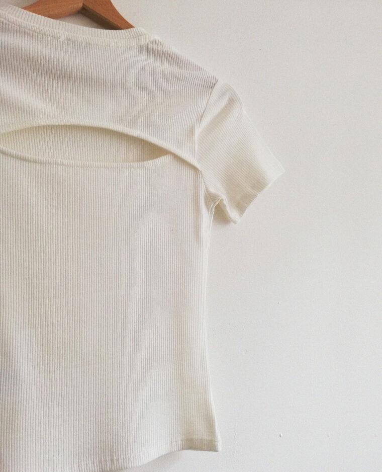 Cropped top à manches courtes blanc cassé